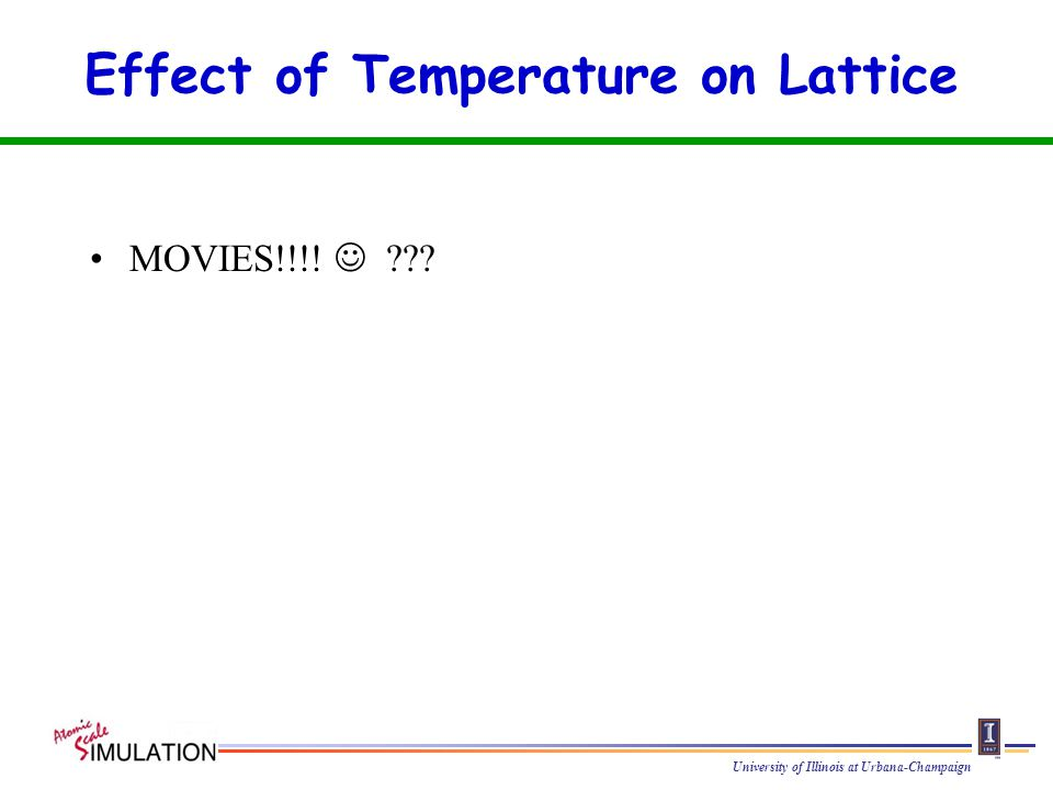 University of Illinois at Urbana-Champaign Effect of Temperature on Lattice MOVIES!!!!