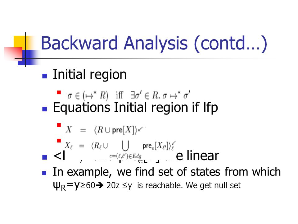 Backward Analysis (contd…) Initial region. Equations Initial region if lfp.
