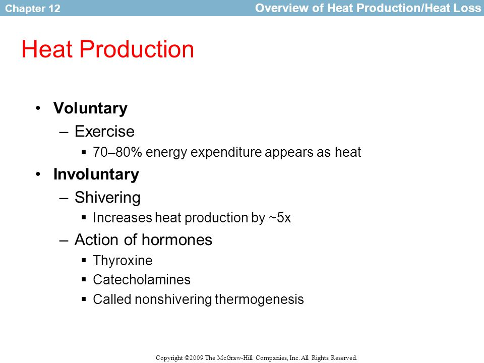 Chapter 12 Copyright ©2009 The McGraw-Hill Companies, Inc. All Rights Reserved. Heat Production Voluntary –Exercise  70–80% energy expenditure appear
