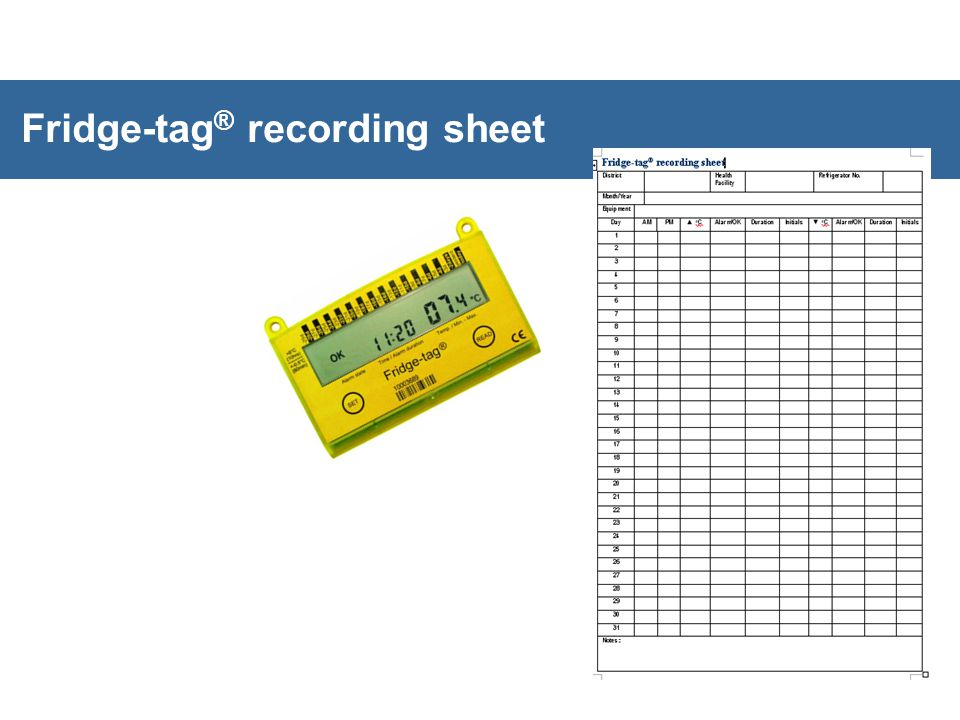 Fridge-tag ® recording sheet