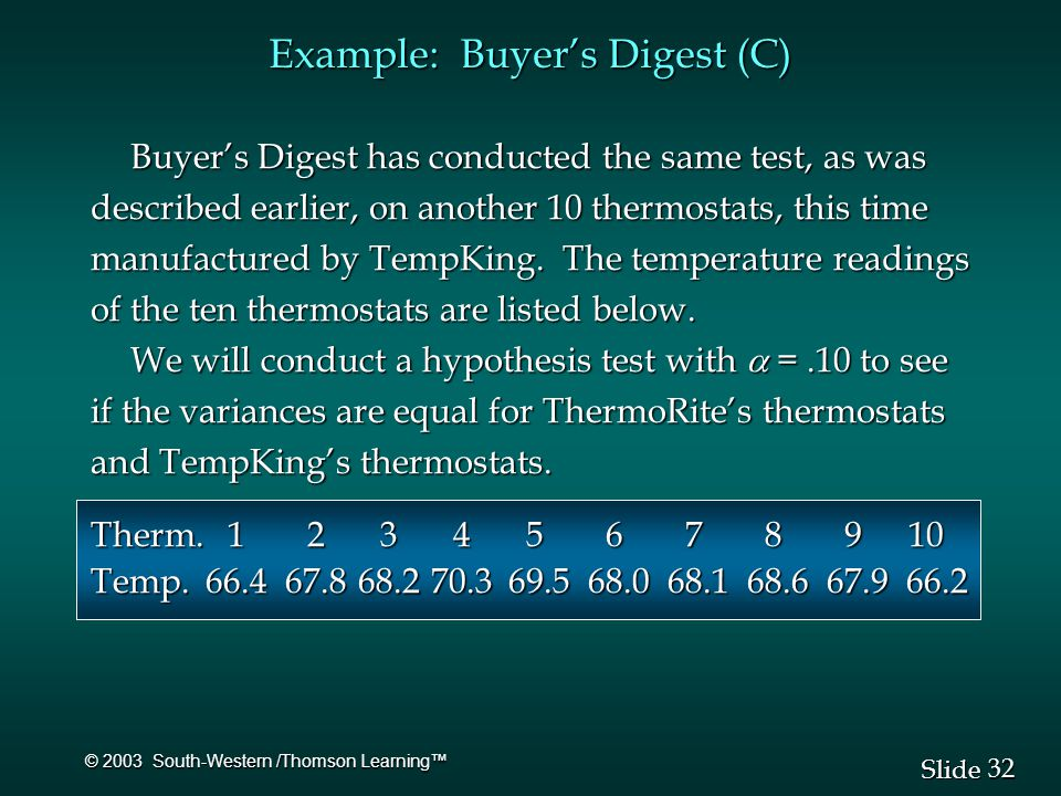 32 Slide © 2003 South-Western /Thomson Learning™ Buyer's Digest has conducted the same test, as was described earlier, on another 10 thermostats, this time manufactured by TempKing.