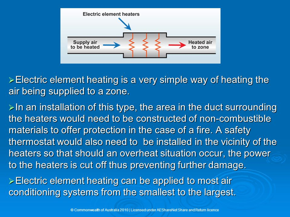  Electric element heating is a very simple way of heating the air being supplied to a zone.  In an installation of this type, the area in the duct s