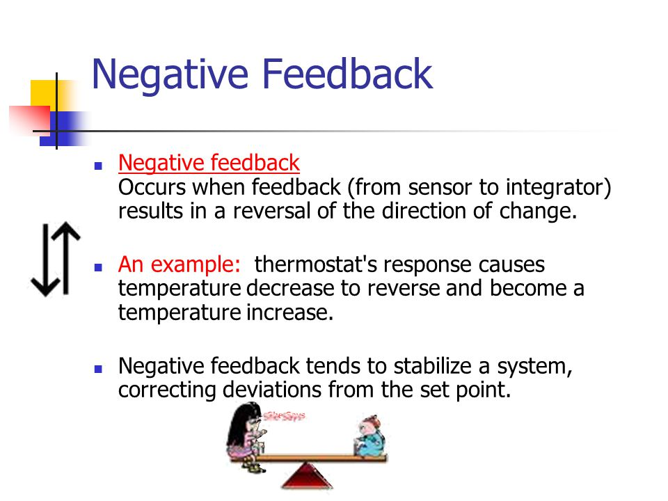 Negative Feedback Negative feedback Occurs when feedback (from sensor to integrator) results in a reversal of the direction of change. An example: the