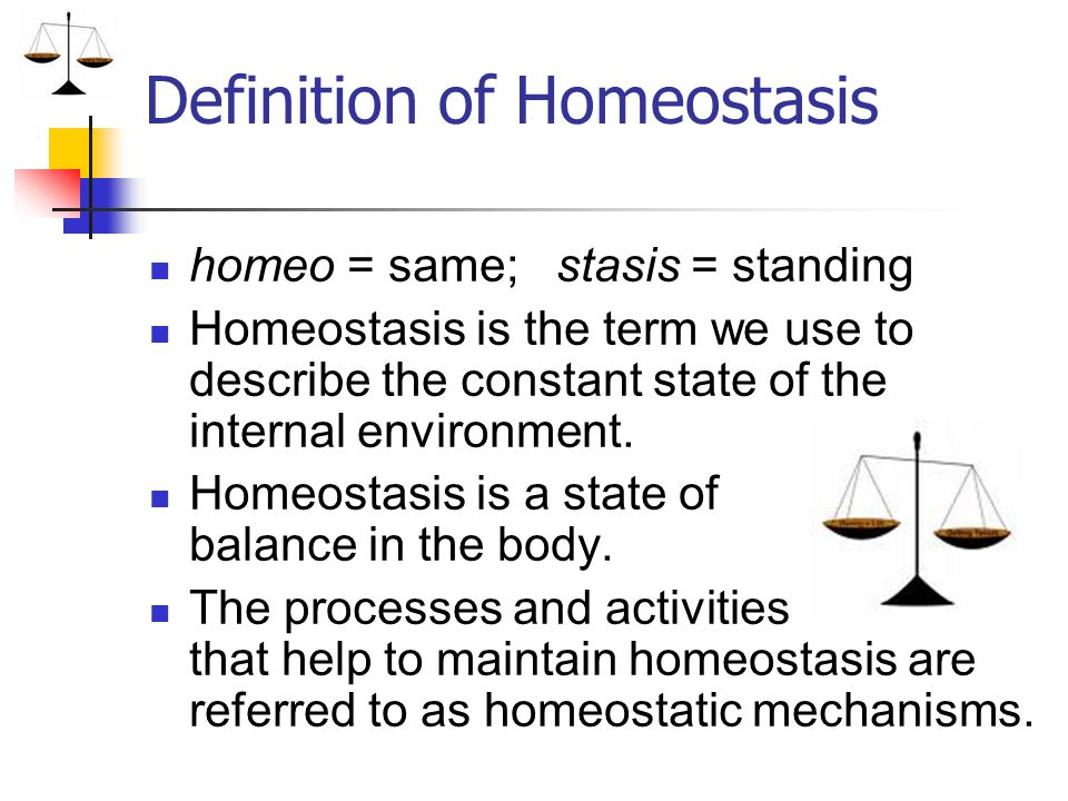 Definition of Homeostasis homeo = same; stasis = standing Homeostasis is the term we use to describe the constant state of the internal environment. H