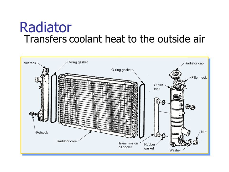 Radiator Transfers coolant heat to the outside air