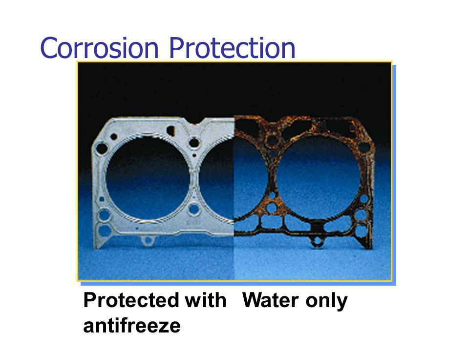 Corrosion Protection Protected with antifreeze Water only