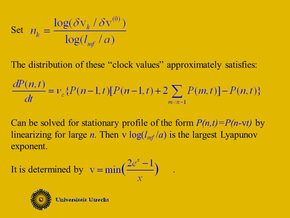 Set The distribution of these clock values approximately satisfies:.