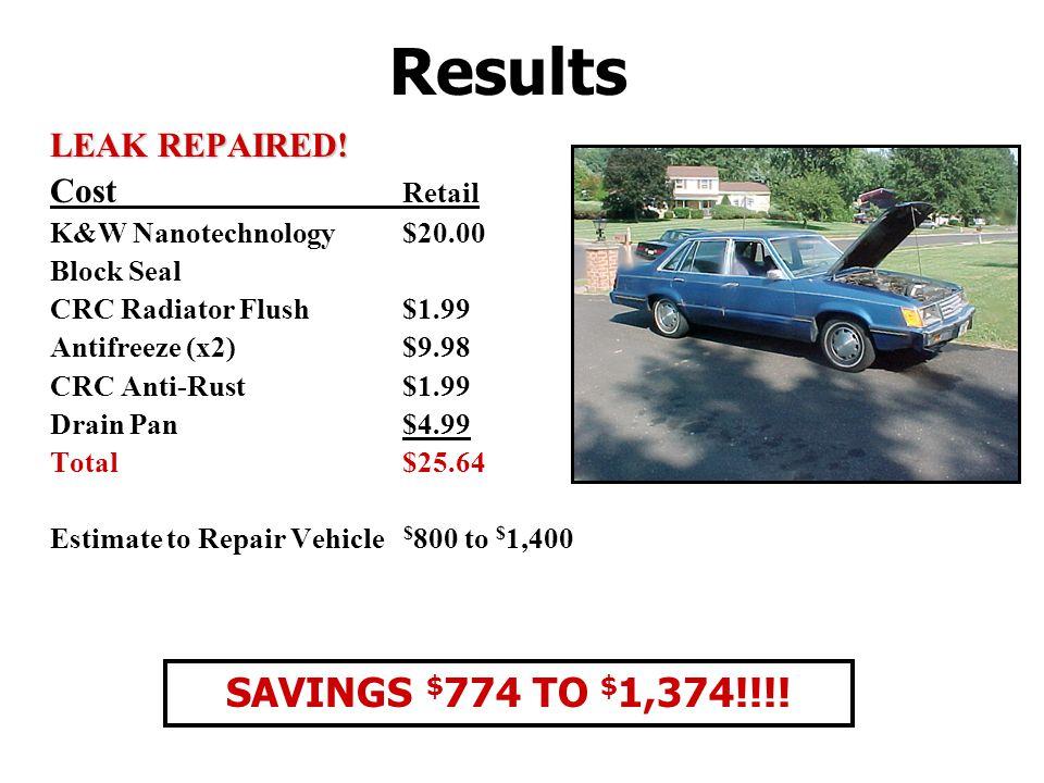 Results LEAK REPAIRED! Cost Retail K&W Nanotechnology$20.00 Block Seal CRC Radiator Flush $1.99 Antifreeze (x2)$9.98 CRC Anti-Rust$1.99 Drain Pan $4.9