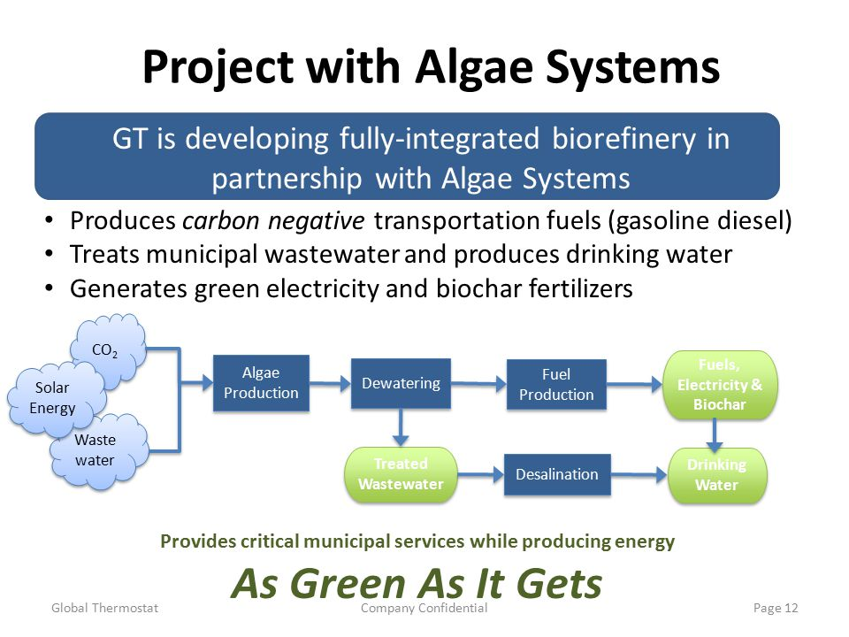 Project with Algae Systems Global ThermostatCompany ConfidentialPage 12 Desalination CO 2 Waste water Algae Production Dewatering Fuel Production Fuels, Electricity & Biochar Fuels, Electricity & Biochar Treated Wastewater Treated Wastewater Drinking Water Drinking Water Produces carbon negative transportation fuels (gasoline diesel) Treats municipal wastewater and produces drinking water Generates green electricity and biochar fertilizers GT is developing fully-integrated biorefinery in partnership with Algae Systems Provides critical municipal services while producing energy As Green As It Gets Solar Energy