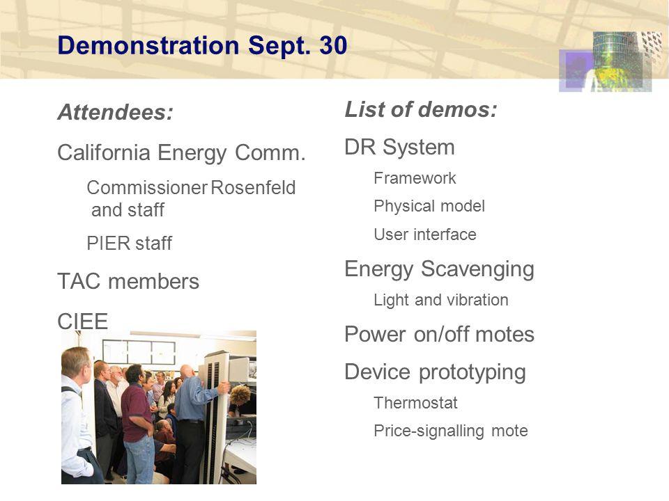 Demonstration Sept. 30 Attendees: California Energy Comm.