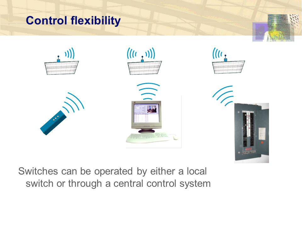 Control flexibility Switches can be operated by either a local switch or through a central control system