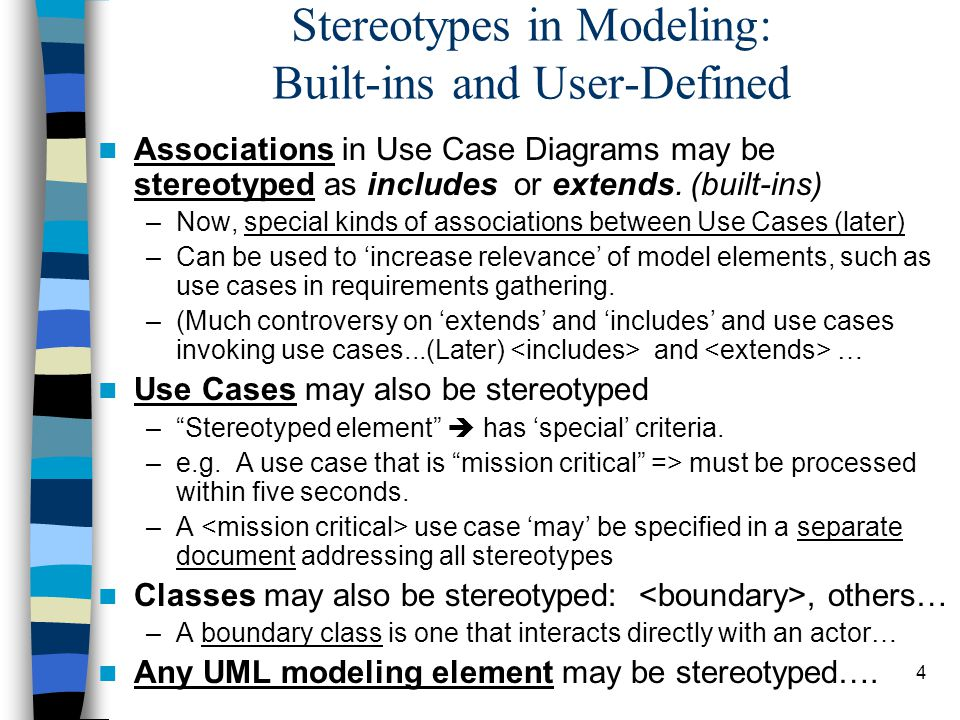 4 Stereotypes in Modeling: Built-ins and User-Defined Associations in Use Case Diagrams may be stereotyped as includes or extends. (built-ins) –Now, s