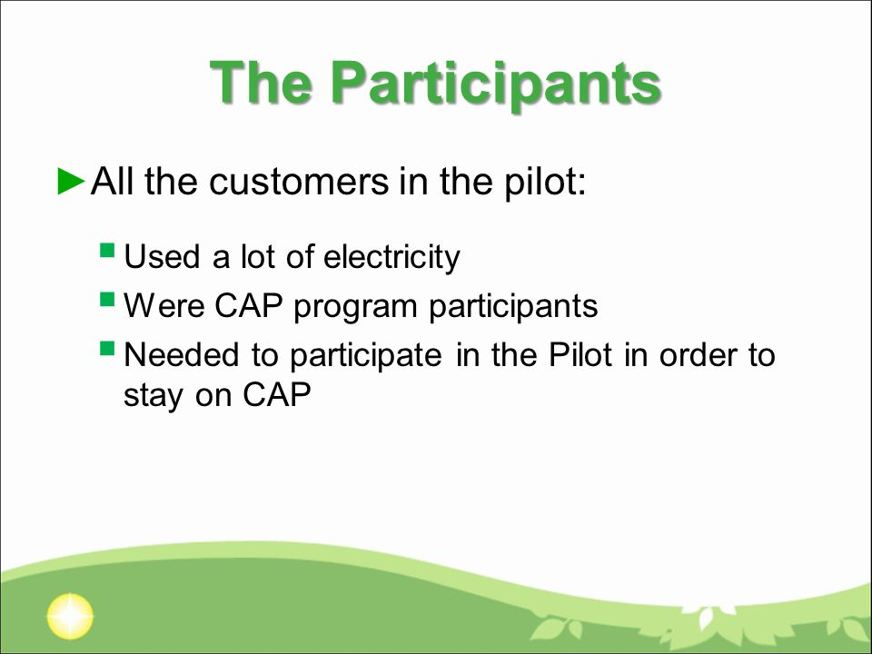The Participants ►All the customers in the pilot:  Used a lot of electricity  Were CAP program participants  Needed to participate in the Pilot in order to stay on CAP