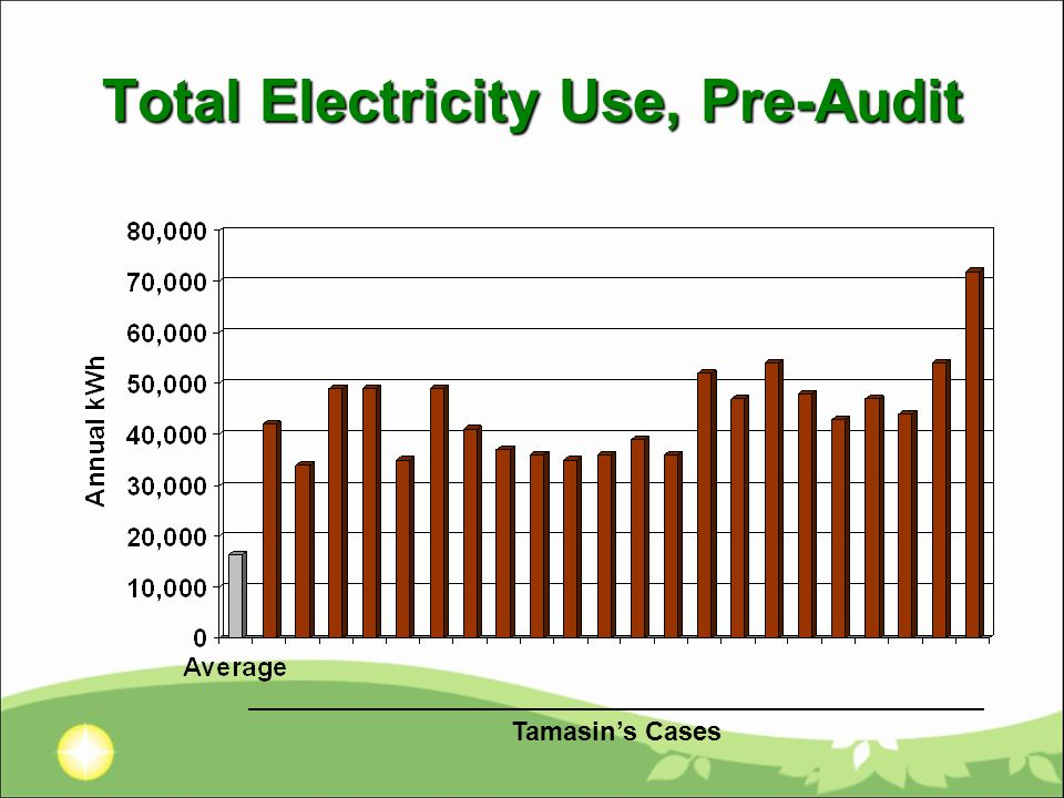 Total Electricity Use, Pre-Audit Tamasin's Cases