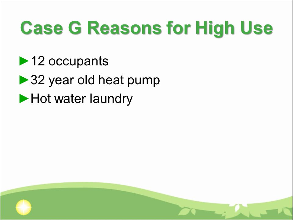 Case G Reasons for High Use ►12 occupants ►32 year old heat pump ►Hot water laundry