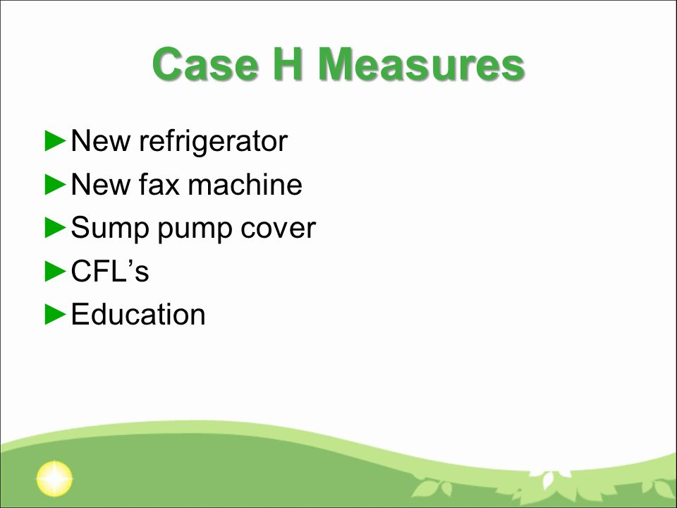Case H Measures ►New refrigerator ►New fax machine ►Sump pump cover ►CFL's ►Education