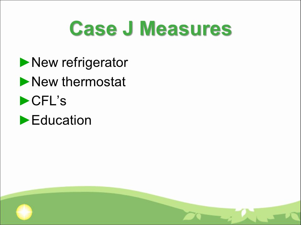 Case J Measures ►New refrigerator ►New thermostat ►CFL's ►Education