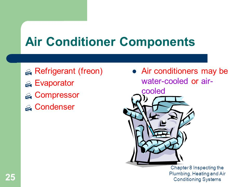 Chapter 8 Inspecting the Plumbing, Heating and Air Conditioning Systems 25 Air Conditioner Components  Refrigerant (freon)  Evaporator  Compressor
