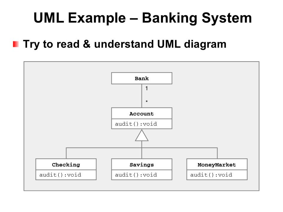 UML Example – Banking System Try to read & understand UML diagram