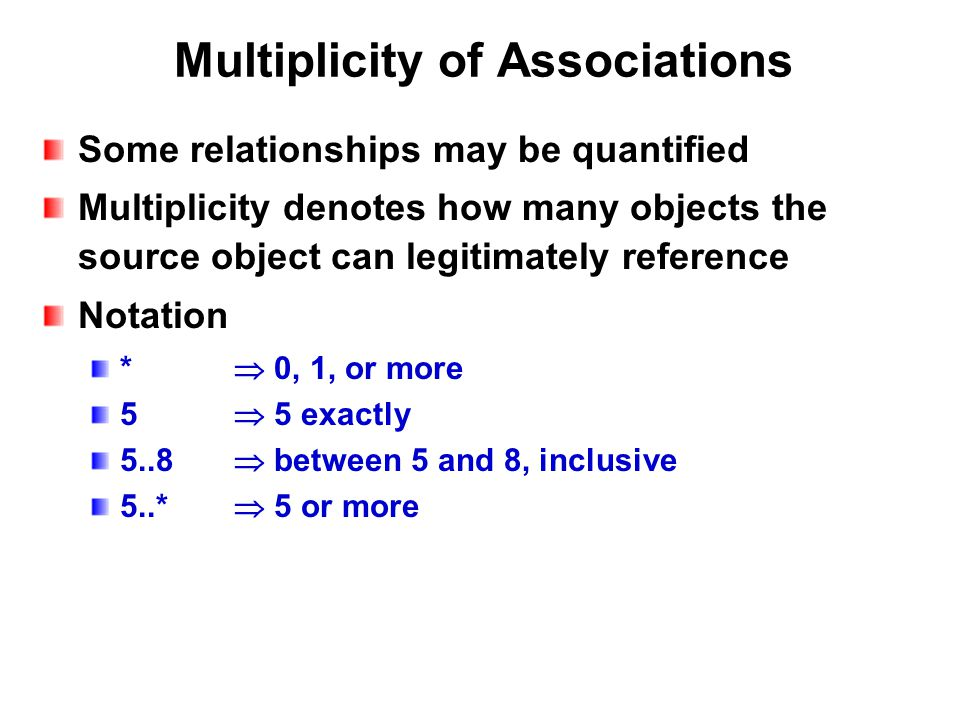 Multiplicity of Associations Some relationships may be quantified Multiplicity denotes how many objects the source object can legitimately reference Notation *  0, 1, or more 5  5 exactly 5..8  between 5 and 8, inclusive 5..*  5 or more