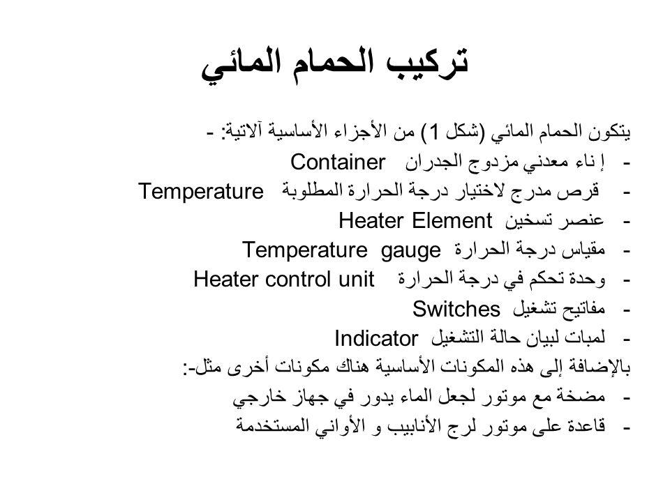 تركيب الحمام المائي يتكون الحمام المائي (شكل 1) من الأجزاء الأساسية آلاتية :- -إ ناء معدني مزدوج الجدران Container - قرص مدرج لاختيار درجة الحرارة المطلوبةTemperature -عنصر تسخينHeater Element -مقياس درجة الحرارةTemperature gauge -وحدة تحكم في درجة الحرارةHeater control unit -مفاتيح تشغيلSwitches -لمبات لبيان حالة التشغيلIndicator بالإضافة إلى هذه المكونات الأساسية هناك مكونات أخرى مثل:- -مضخة مع موتور لجعل الماء يدور في جهاز خارجي -قاعدة على موتور لرج الأنابيب و الأواني المستخدمة