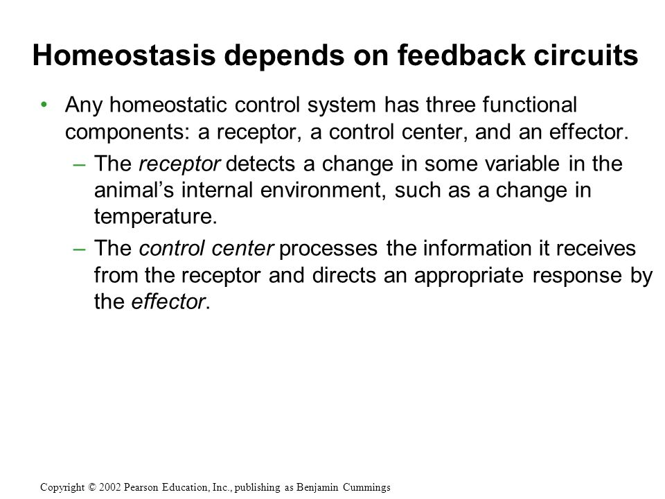 Any homeostatic control system has three functional components: a receptor, a control center, and an effector.