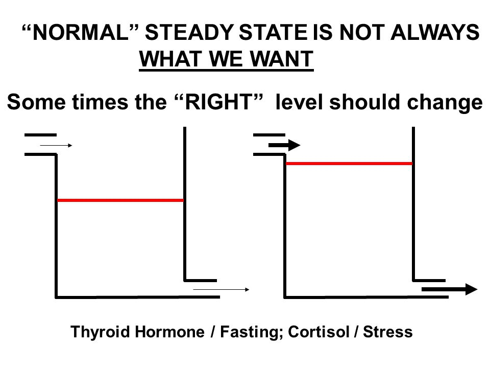 """Some times the """"RIGHT"""" level should change """"NORMAL"""" STEADY STATE IS NOT ALWAYS WHAT WE WANT Thyroid Hormone / Fasting; Cortisol / Stress"""