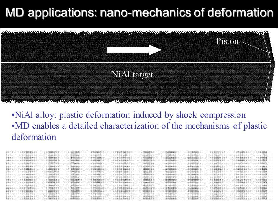 MD applications: nano-mechanics of deformation NiAl alloy: plastic deformation induced by shock compression MD enables a detailed characterization of the mechanisms of plastic deformation Piston NiAl target
