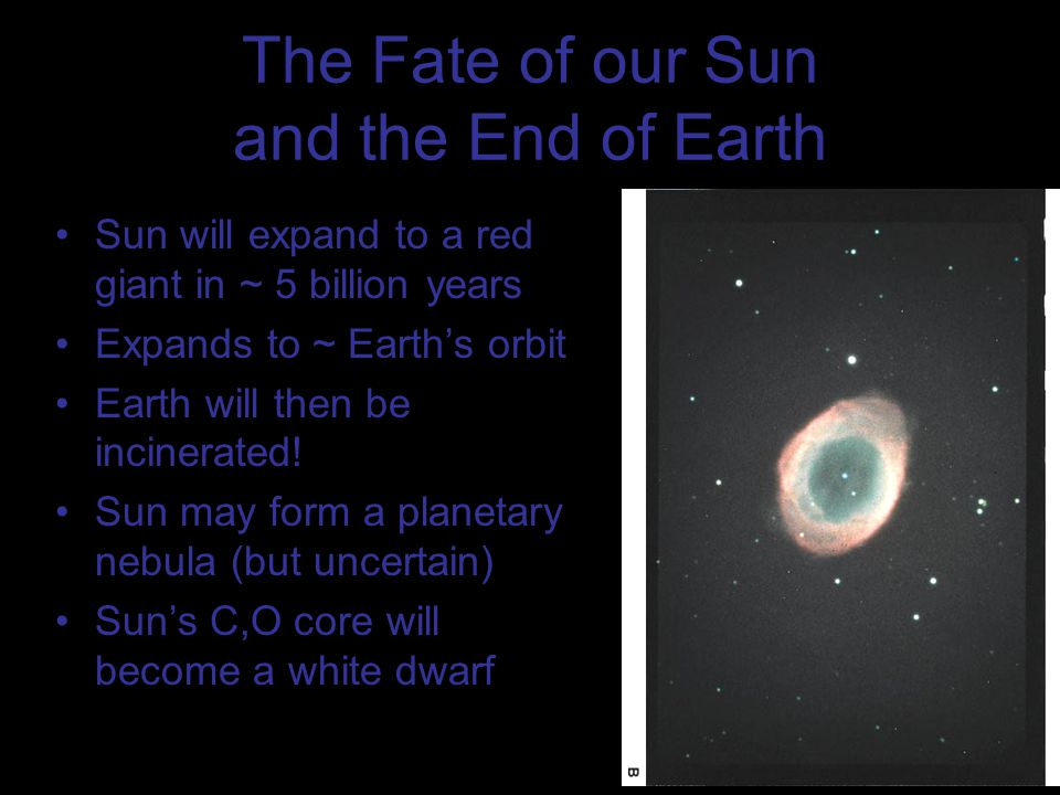 The Fate of our Sun and the End of Earth Sun will expand to a red giant in ~ 5 billion years Expands to ~ Earth's orbit Earth will then be incinerated.