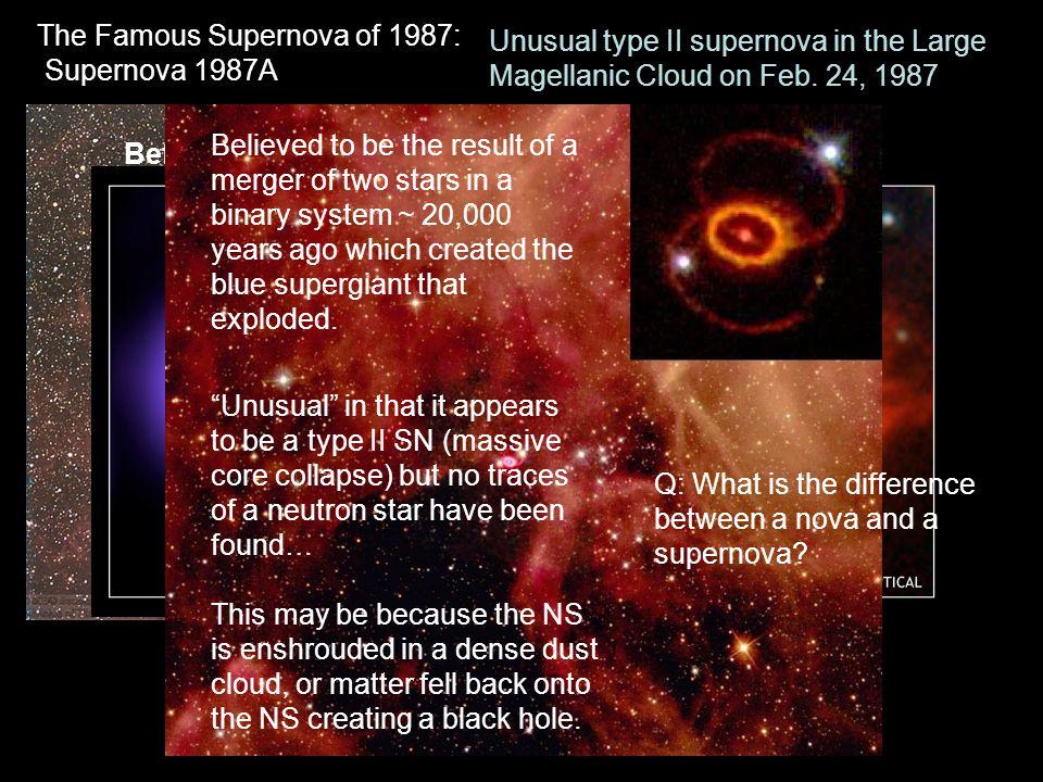 "The Famous Supernova of 1987: Supernova 1987A BeforeAt maximum Unusual type II supernova in the Large Magellanic Cloud on Feb. 24, 1987 ""Unusual"" in t"