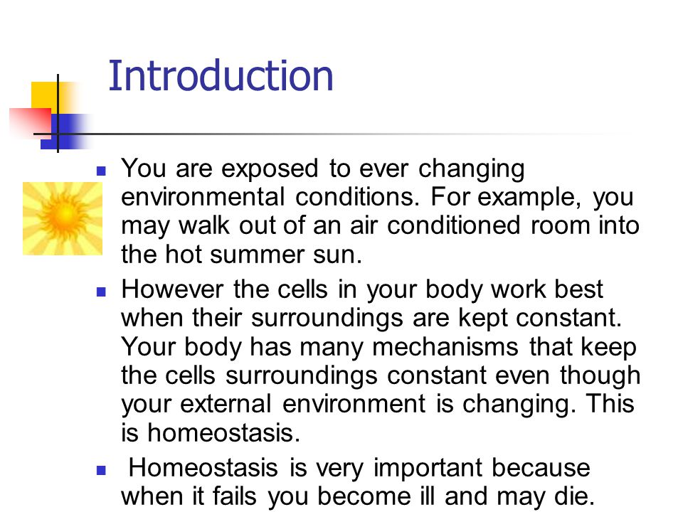 Definition of Homeostasis homeo = same; stasis = standing Homeostasis is the term we use to describe the constant state of the internal environment.