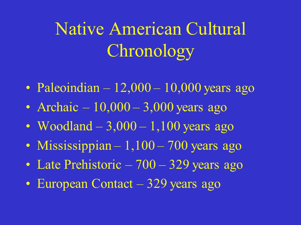 Native American Cultural Chronology Paleoindian – 12,000 – 10,000 years ago Archaic – 10,000 – 3,000 years ago Woodland – 3,000 – 1,100 years ago Mississippian – 1,100 – 700 years ago Late Prehistoric – 700 – 329 years ago European Contact – 329 years ago
