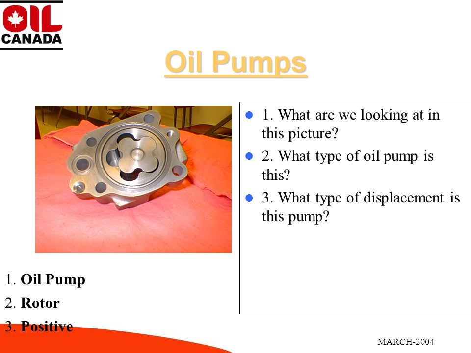MARCH-2004 Oil Pumps 1. What are we looking at in this picture.
