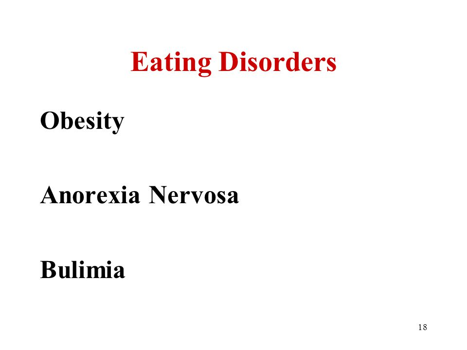 18 Eating Disorders Obesity Anorexia Nervosa Bulimia
