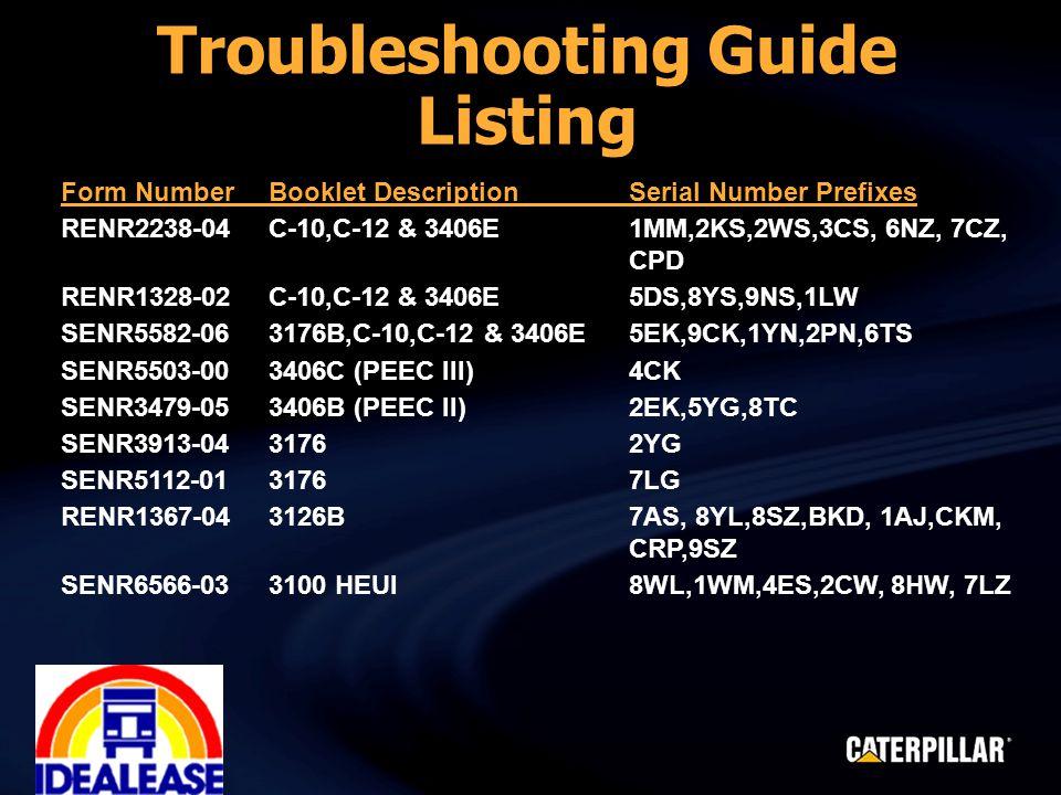 Form NumberBooklet DescriptionSerial Number Prefixes RENR2238-04C-10,C-12 & 3406E1MM,2KS,2WS,3CS, 6NZ, 7CZ, CPD RENR1328-02C-10,C-12 & 3406E5DS,8YS,9NS,1LW SENR5582-063176B,C-10,C-12 & 3406E5EK,9CK,1YN,2PN,6TS SENR5503-003406C (PEEC III)4CK SENR3479-053406B (PEEC II)2EK,5YG,8TC SENR3913-043176 2YG SENR5112-013176 7LG RENR1367-043126B 7AS, 8YL,8SZ,BKD, 1AJ,CKM, CRP,9SZ SENR6566-033100 HEUI 8WL,1WM,4ES,2CW, 8HW, 7LZ Troubleshooting Guide Listing