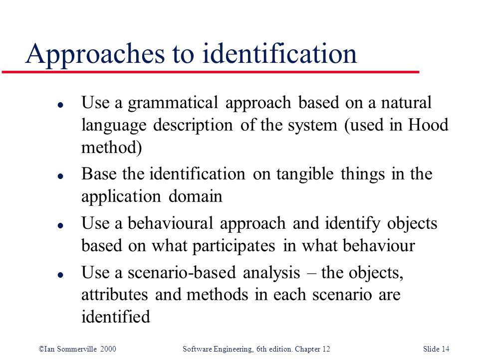 ©Ian Sommerville 2000 Software Engineering, 6th edition. Chapter 12Slide 14 Approaches to identification l Use a grammatical approach based on a natur