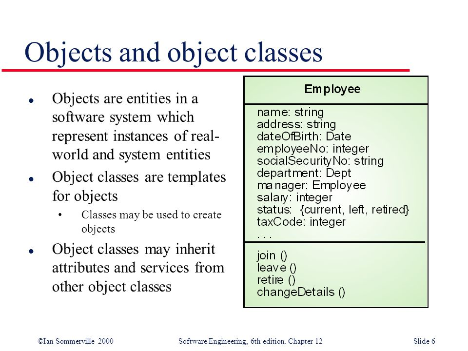 ©Ian Sommerville 2000 Software Engineering, 6th edition. Chapter 12Slide 6 Objects and object classes l Objects are entities in a software system whic