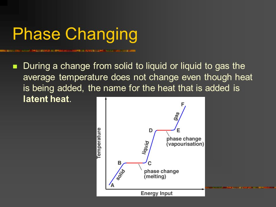 Phase Changing During a change from solid to liquid or liquid to gas the average temperature does not change even though heat is being added, the name