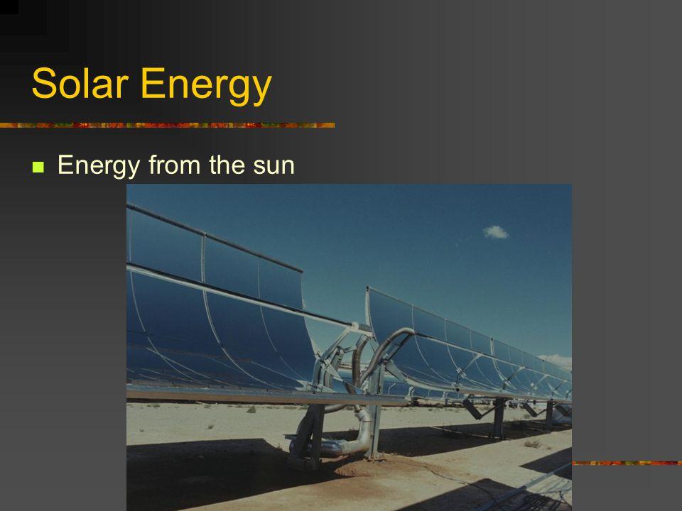 Solar Energy Energy from the sun