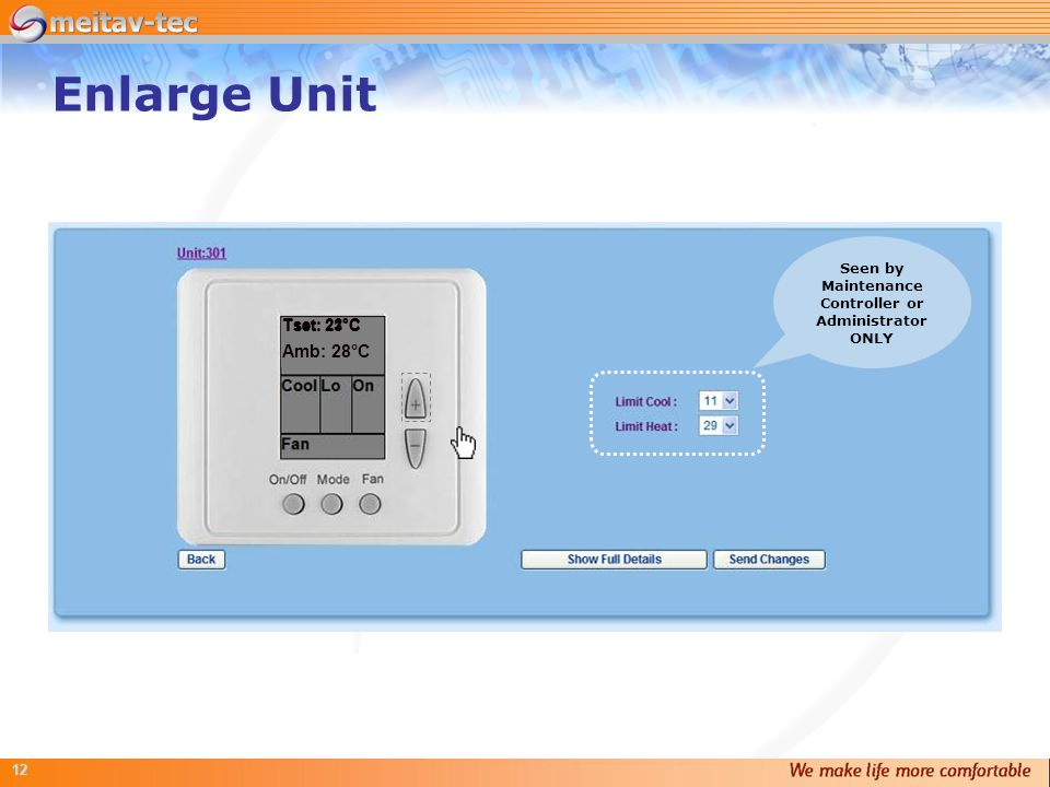 12 Enlarge Unit Tset: 22°C Amb: 28°C Tset: 21°CTset: 23°C Seen by Maintenance Controller or Administrator ONLY