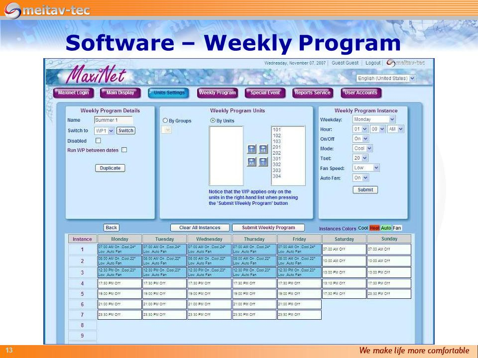 13 Software – Weekly Program