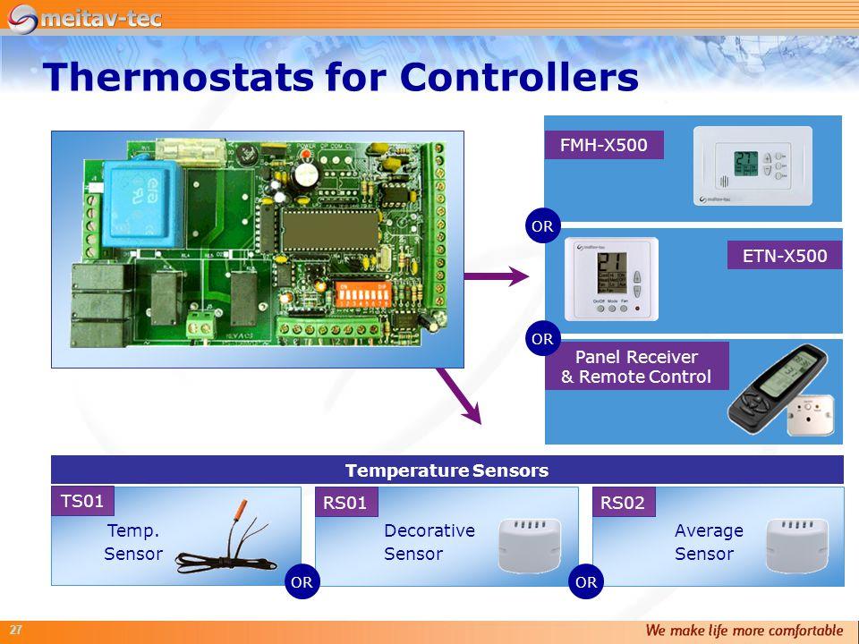 27 Panel Receiver & Remote Control ETN-X500 FMH-X500 Temperature Sensors Temp. Sensor TS01 RS02 Average Sensor RS01 Decorative Sensor OR Thermostats f