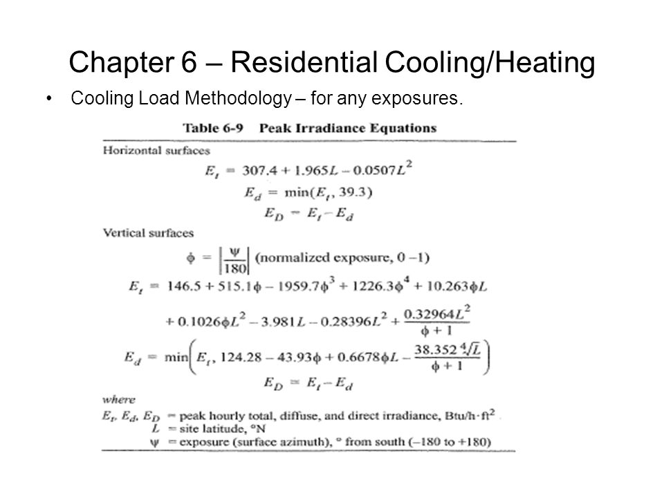 Chapter 6 – Residential Cooling/Heating Cooling Load Methodology – for any exposures.