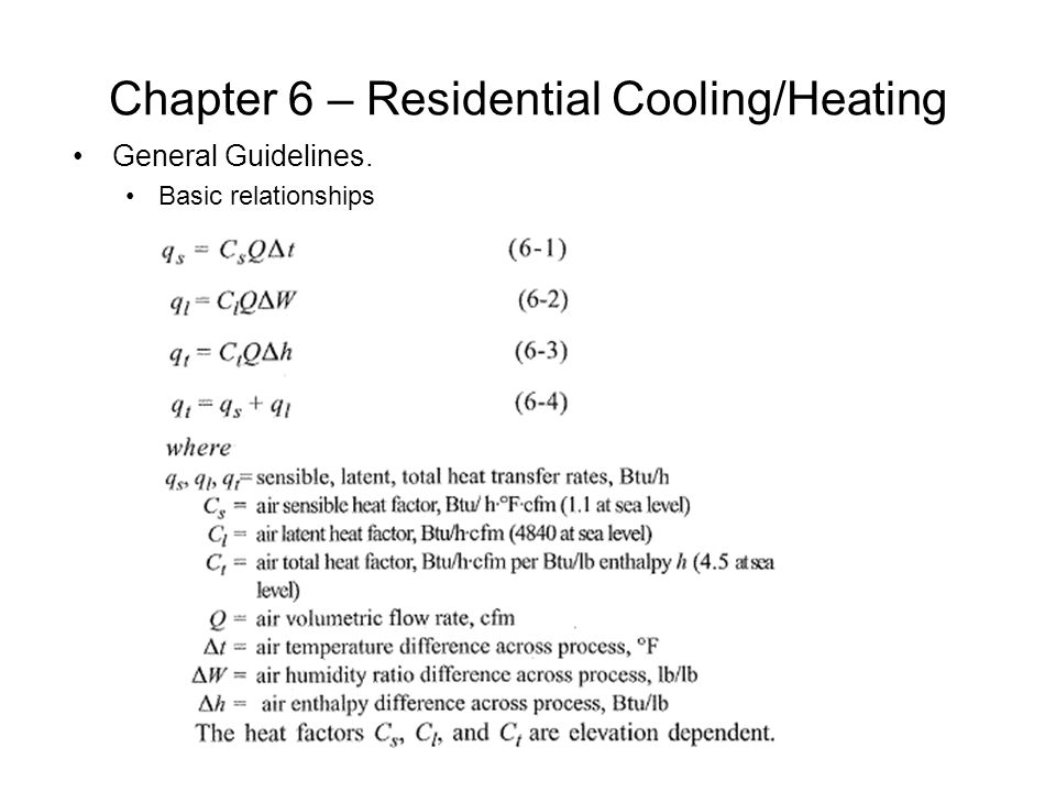 Chapter 6 – Residential Cooling/Heating Cooling Load Methodology.