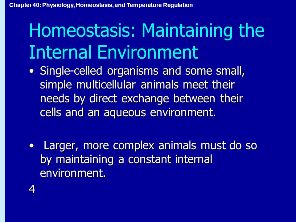 Chapter 40: Physiology, Homeostasis, and Temperature Regulation Homeostasis: Maintaining the Internal Environment Single-celled organisms and some small, simple multicellular animals meet their needs by direct exchange between their cells and an aqueous environment.Single-celled organisms and some small, simple multicellular animals meet their needs by direct exchange between their cells and an aqueous environment.