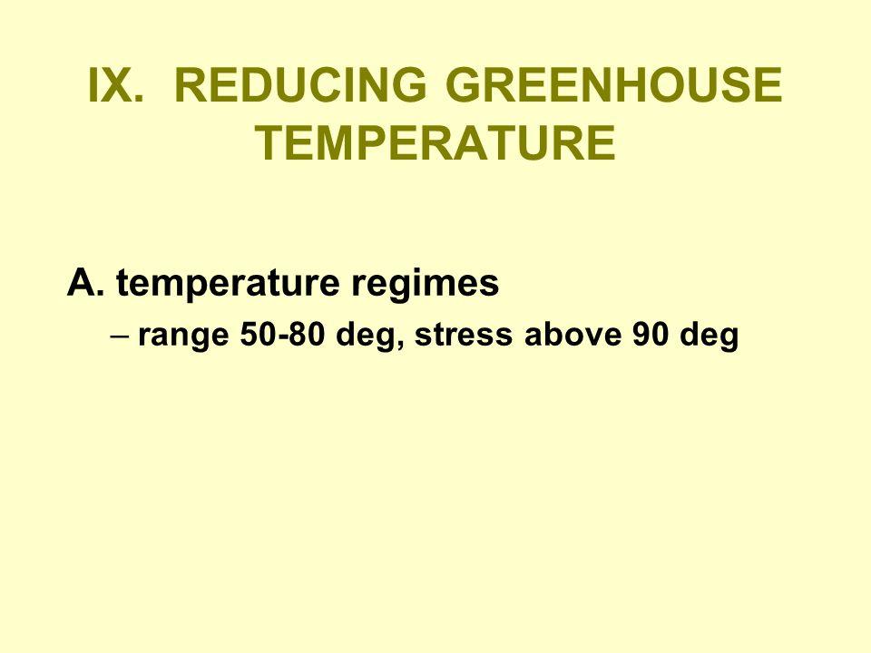 IX. REDUCING GREENHOUSE TEMPERATURE A. temperature regimes –range 50-80 deg, stress above 90 deg