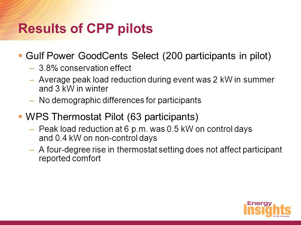 Results of CPP pilots  Gulf Power GoodCents Select (200 participants in pilot) –3.8% conservation effect –Average peak load reduction during event wa