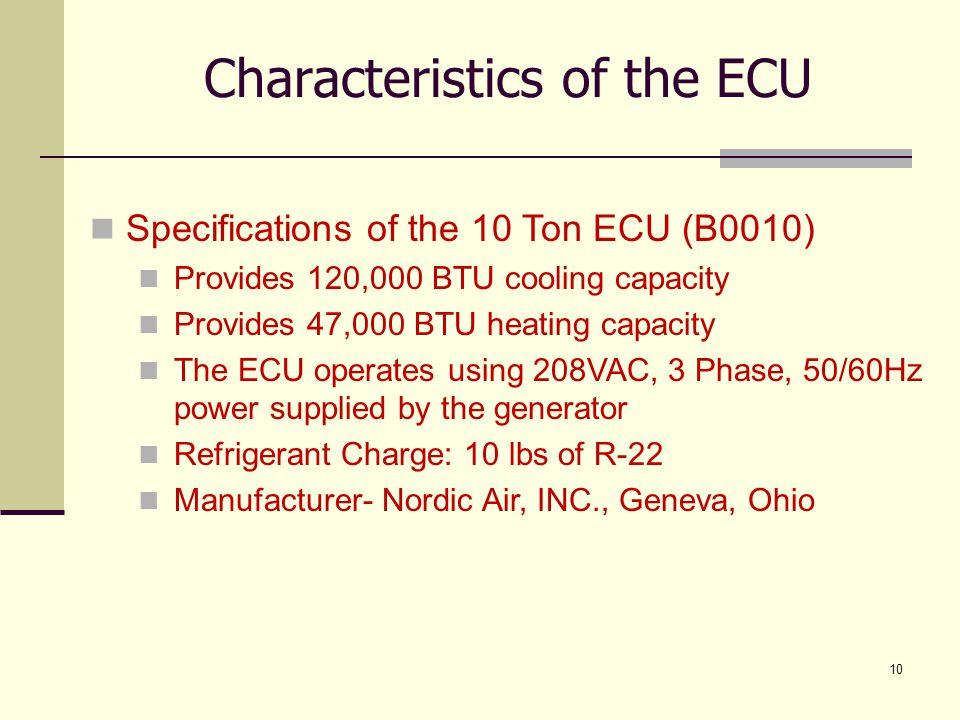 10 Characteristics of the ECU Specifications of the 10 Ton ECU (B0010) Provides 120,000 BTU cooling capacity Provides 47,000 BTU heating capacity The
