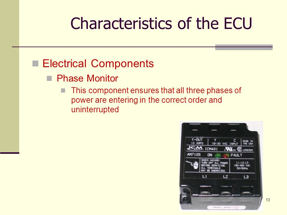 13 Electrical Components Phase Monitor This component ensures that all three phases of power are entering in the correct order and uninterrupted Chara