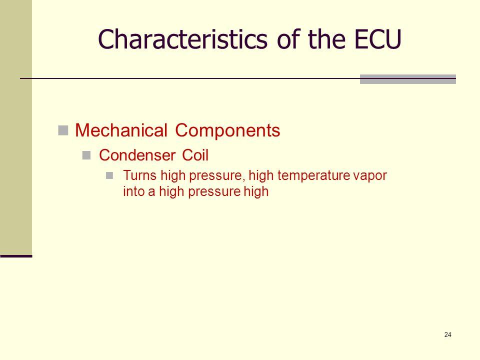 24 Mechanical Components Condenser Coil Turns high pressure, high temperature vapor into a high pressure high Characteristics of the ECU
